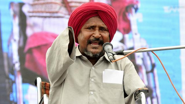Bant Singh campaigns for AAP in the dalit-dominated region of Doaba