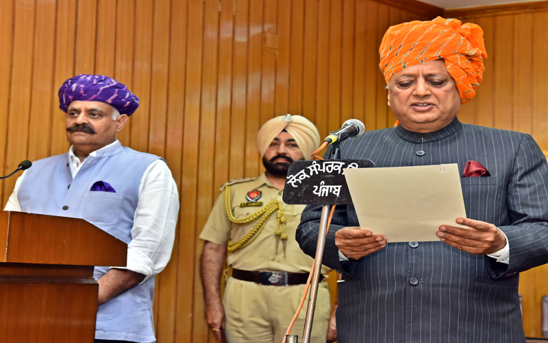 GOVERNOR ADMINISTERS OATH OF OFFICE TO RANA KANWARPAL SINGH, APPOINTS HIM PRO TEM SPEAKER