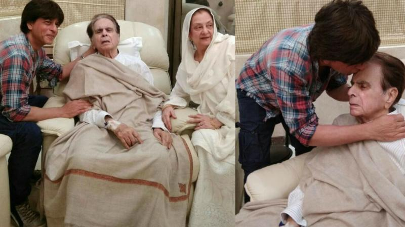 Son' Shah Rukh Khan visits Dilip Kumar after his discharge from hospital