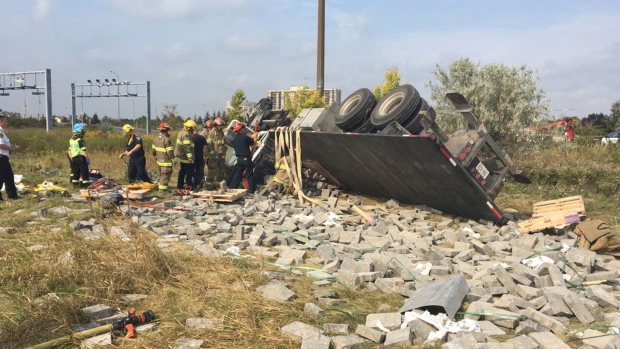 One person airlifted to hospital after transport truck rollover in Brampton